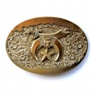 Vintage Shriner Crescent Moon Solid Brass Award Design used belt buckle