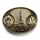 Oil Derrick OILY Award Design Brass Belt Buckle