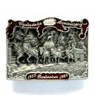 Budweiser 3D Clydesdales 50Th Anniversary Iowa 1983 Pewter belt buckle