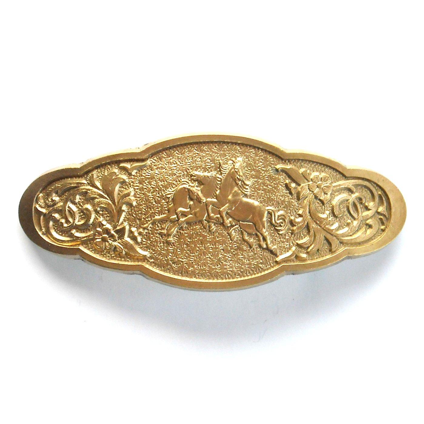 Stallions Running Horses Award Design Solid Brass Belt Buckle