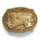Cowboy Boots Hat Saddle ADM Solid Brass Belt Buckle