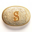 Letter S  Crumline Gold Silver color belt buckle