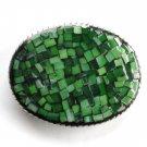 Belt Buckle Handmade Artisan One Of A Kind Green Mosaic