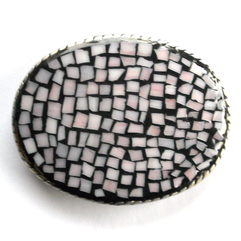Artisan Handmade One Of A Kind Rose Beige Pastel Mosaic Belt Buckle