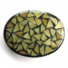 Mosaic Handmade Artisan One Of A Kind Green Yellow Belt Buckle