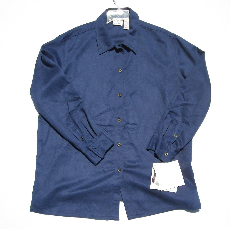 Koret City Blues Womens Soft Solid Blue Blouse Shirt Size 14