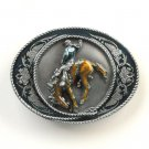 Bucking Horse Rodeo Cowboy 3D Vintage Siskiyou Pewter Belt Buckle