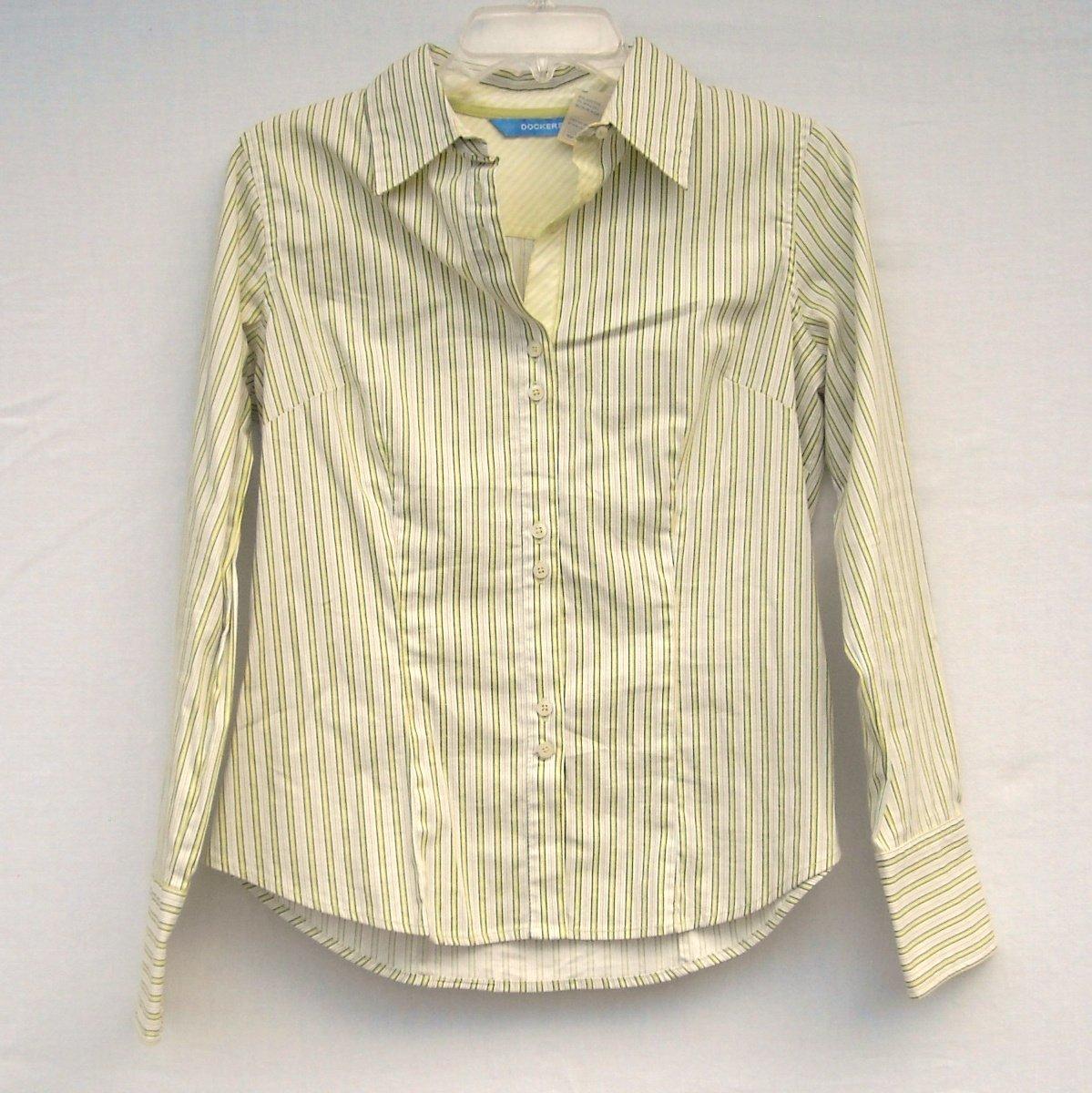 Dockers Misses Striped Cotton Blend Blouse Shirt Size S