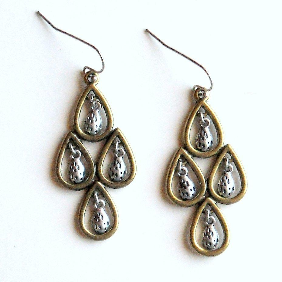 Lucky Brand Gold Silver Tone Teardrop Chandelier Dangle Drop Earrings