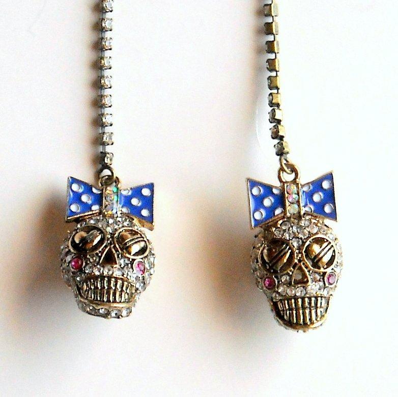 Betsey Johnson Ivy League Skull Gold Tone Dangle Drop Linear Earrings