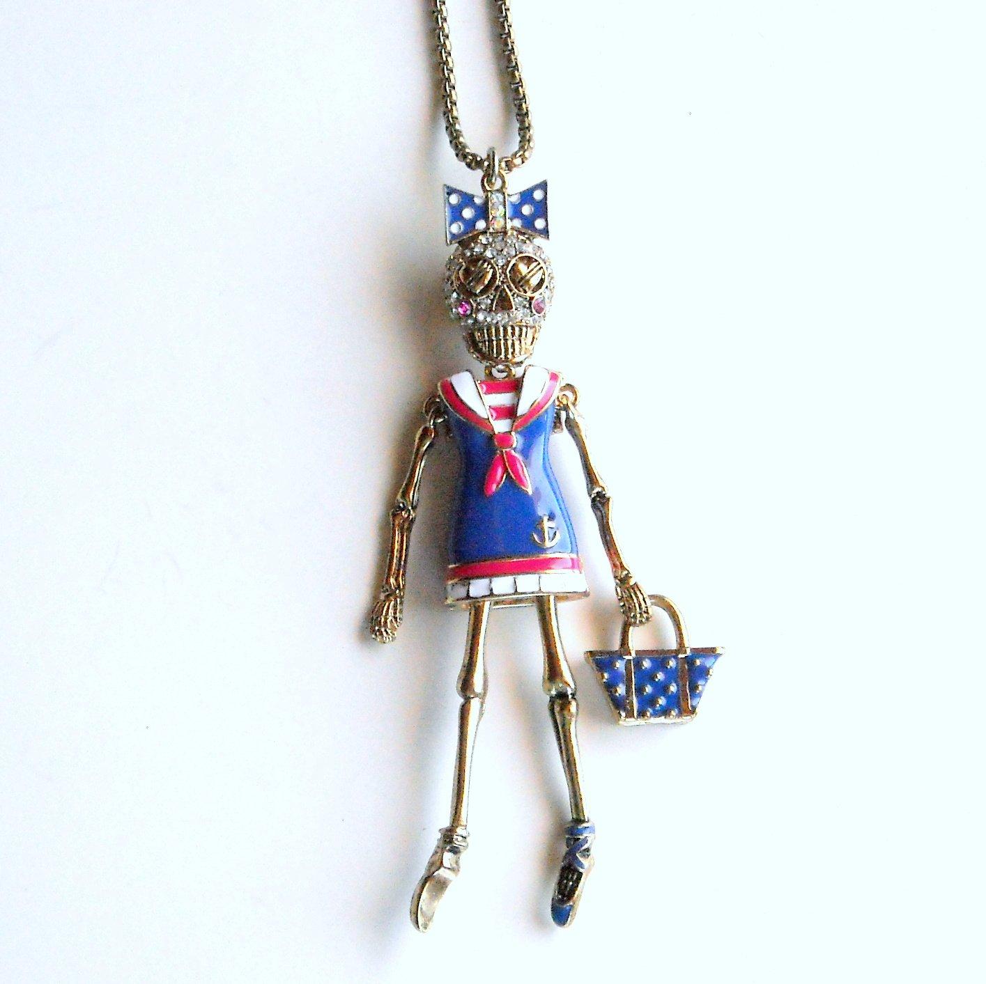Betsey Johnson Ivy League Skull Gold Tone Sailor Long Necklace