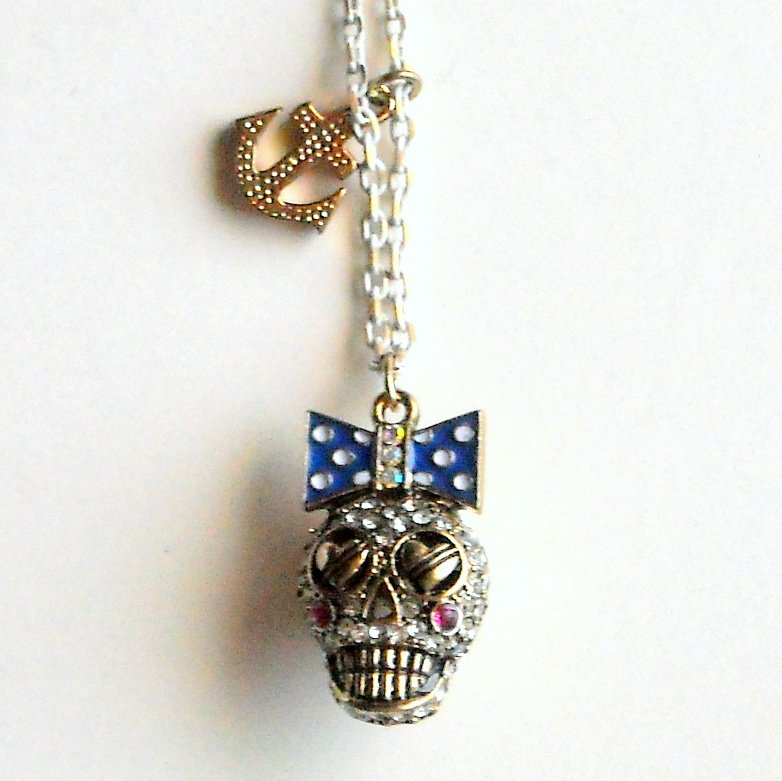Betsey Johnson Ivy League Skull Gold Tone Necklace