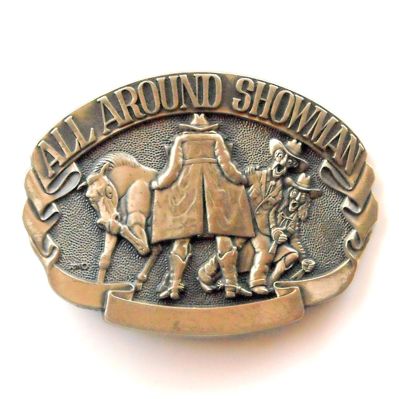 Showman Cowboy Vintage Award Design Solid Brass Belt Buckle