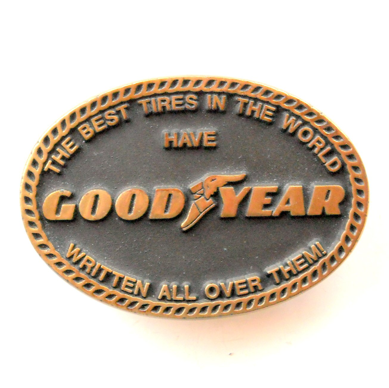 GoodYear Anacortes Hand Made USA Solid Brass belt buckle