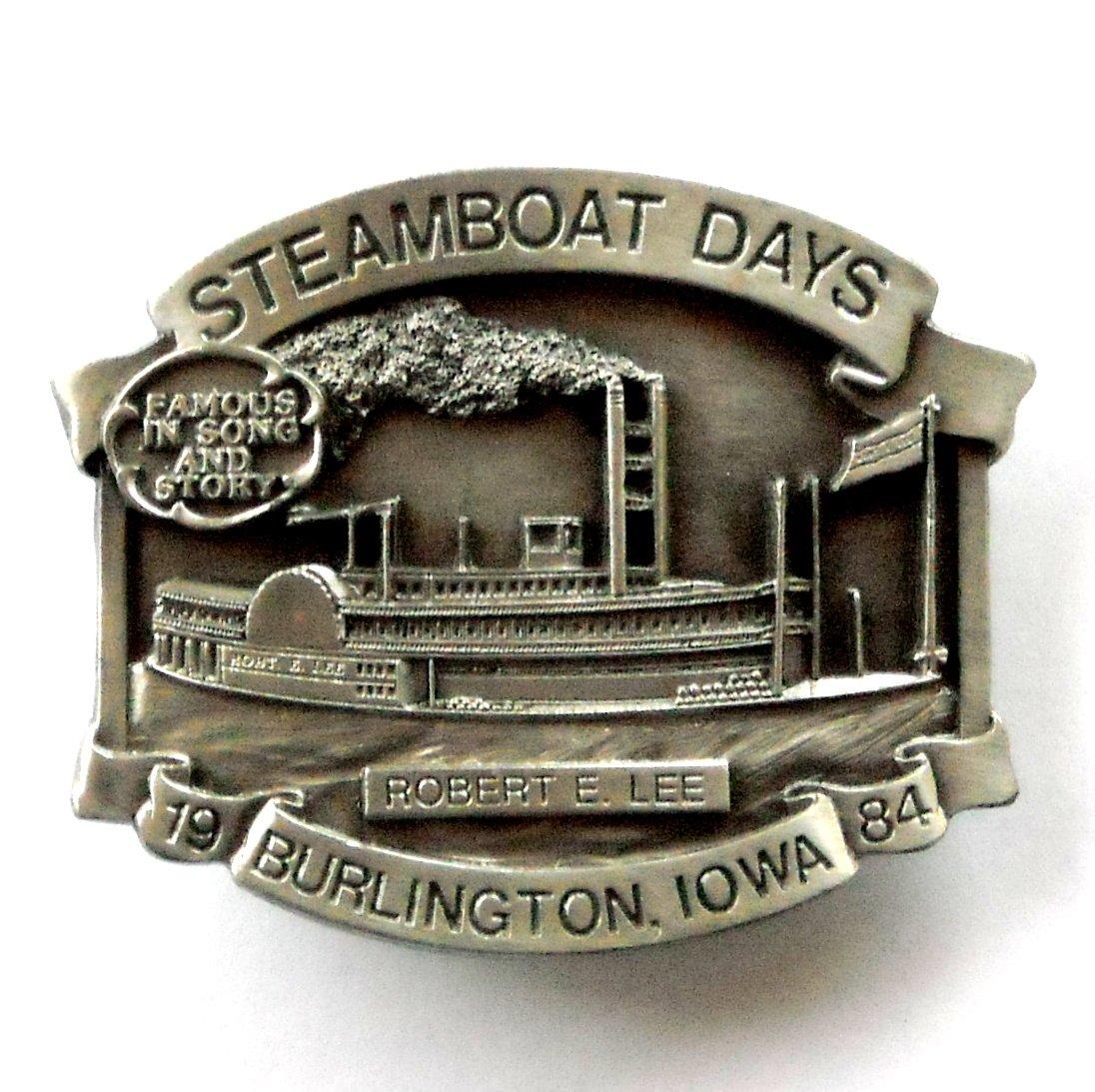 Vintage Robert E Lee 1984 Burlington Steamboat Days Pewter Belt Buckle