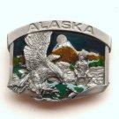 Alaska Eagle Gold Miner 3D Color Siskiyou Pewter Belt Buckle