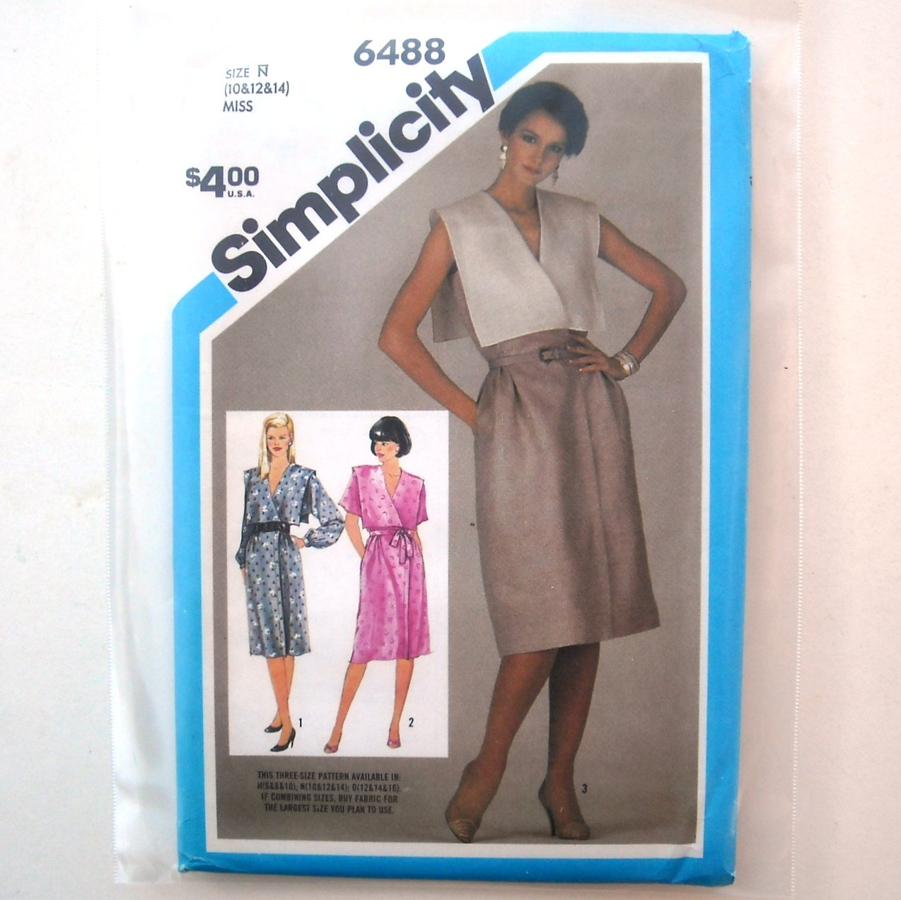 Simplicity Sewing Pattern 6488 Size 10 -14 Misses Mock Wrap Dress