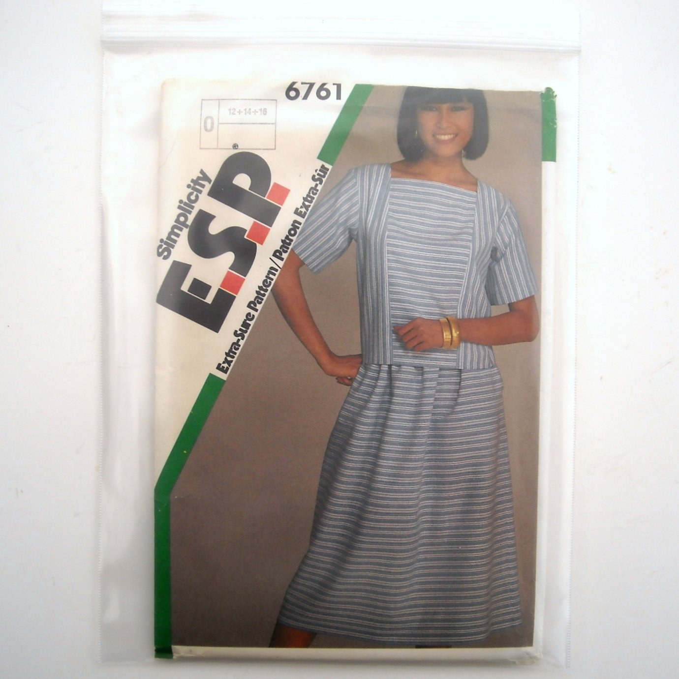Misses Easy Two Piece Dress Simplicity Sewing Pattern 6761 Size 12 - 16