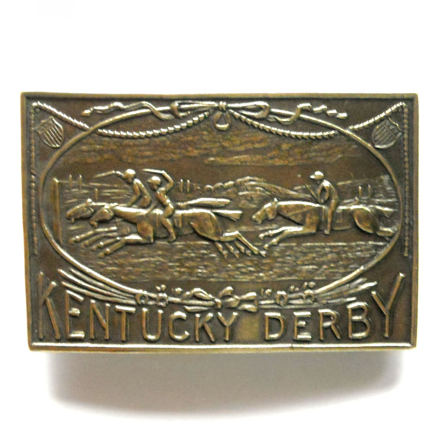 Kentucky Derby Vintage Bergamot Brass Belt Buckle
