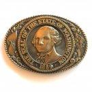 Great Seal Of Washington State Tony Lama Brass Belt Buckle