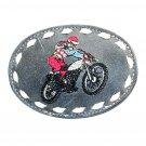 Motorcycle Dirt Bike Embroidered Vintage Tony Lama Leather Belt Buckle