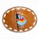Square Dance Embroidered Vintage Tony Lama Leather Belt Buckle