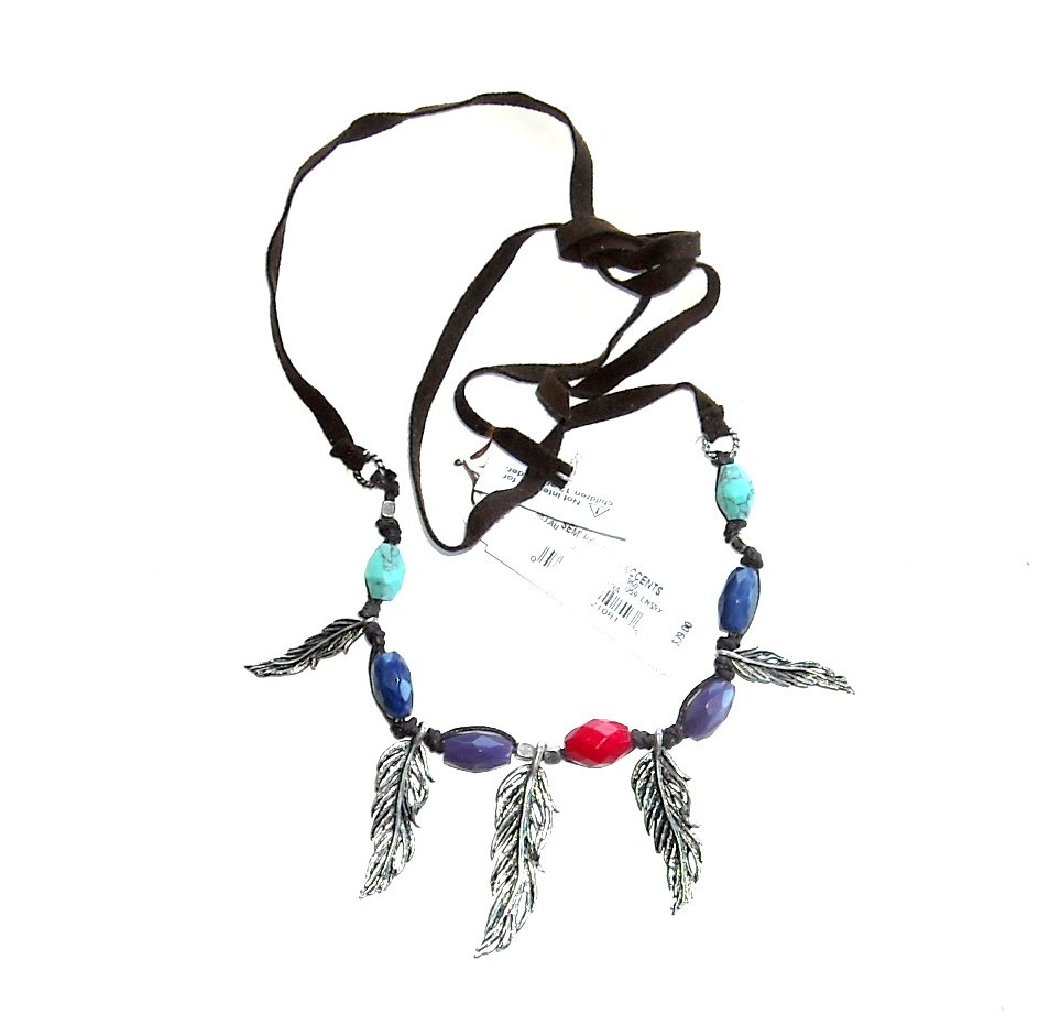 Lucky Brand Beads & Feathers Leather Necklace