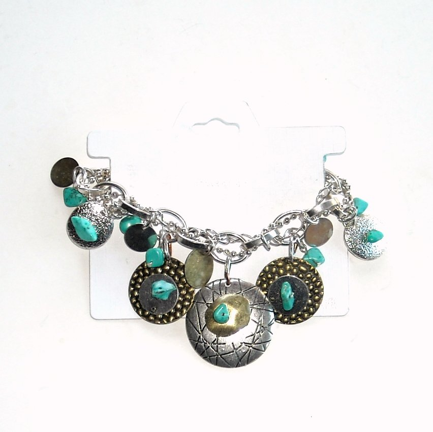 Icon Collection Silver Color Turqouise Bracelet
