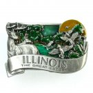 Illinois The Great Escape Bergamot Solid Pewter Belt Buckle