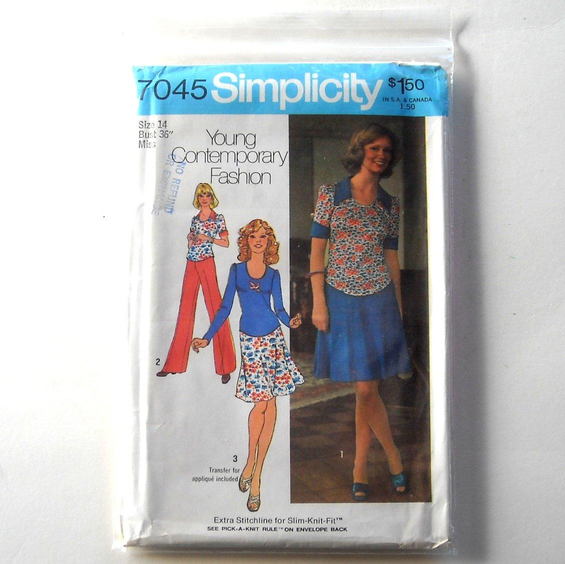 Misses Short Dress Top Skirt Pants Size 14 Vintage Simplicity Sewing Pattern 7045