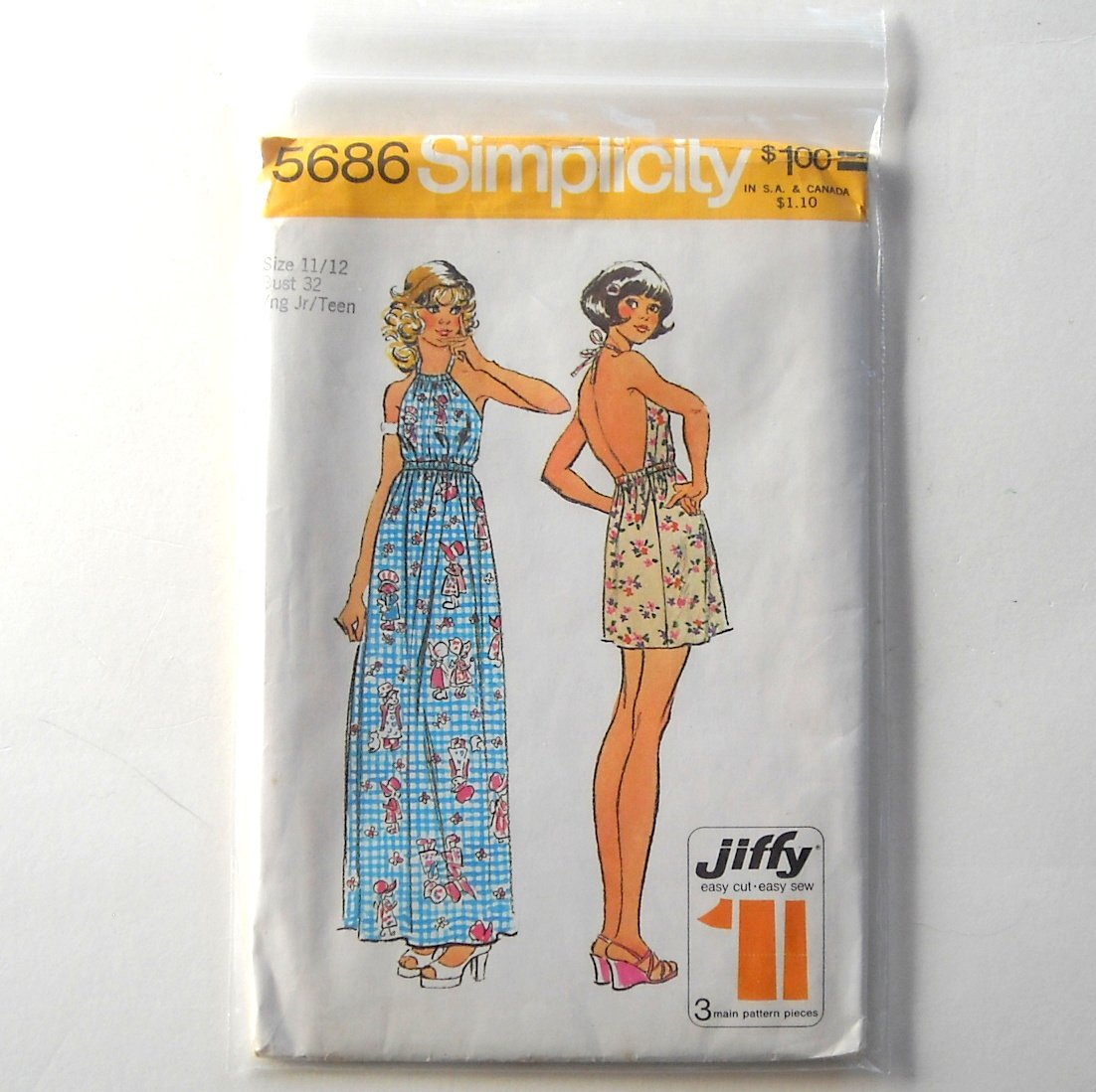 Junior Teens Jiffy Halter Dress Size 11 - 12 Vintage Simplicity Sewing Pattern 5686