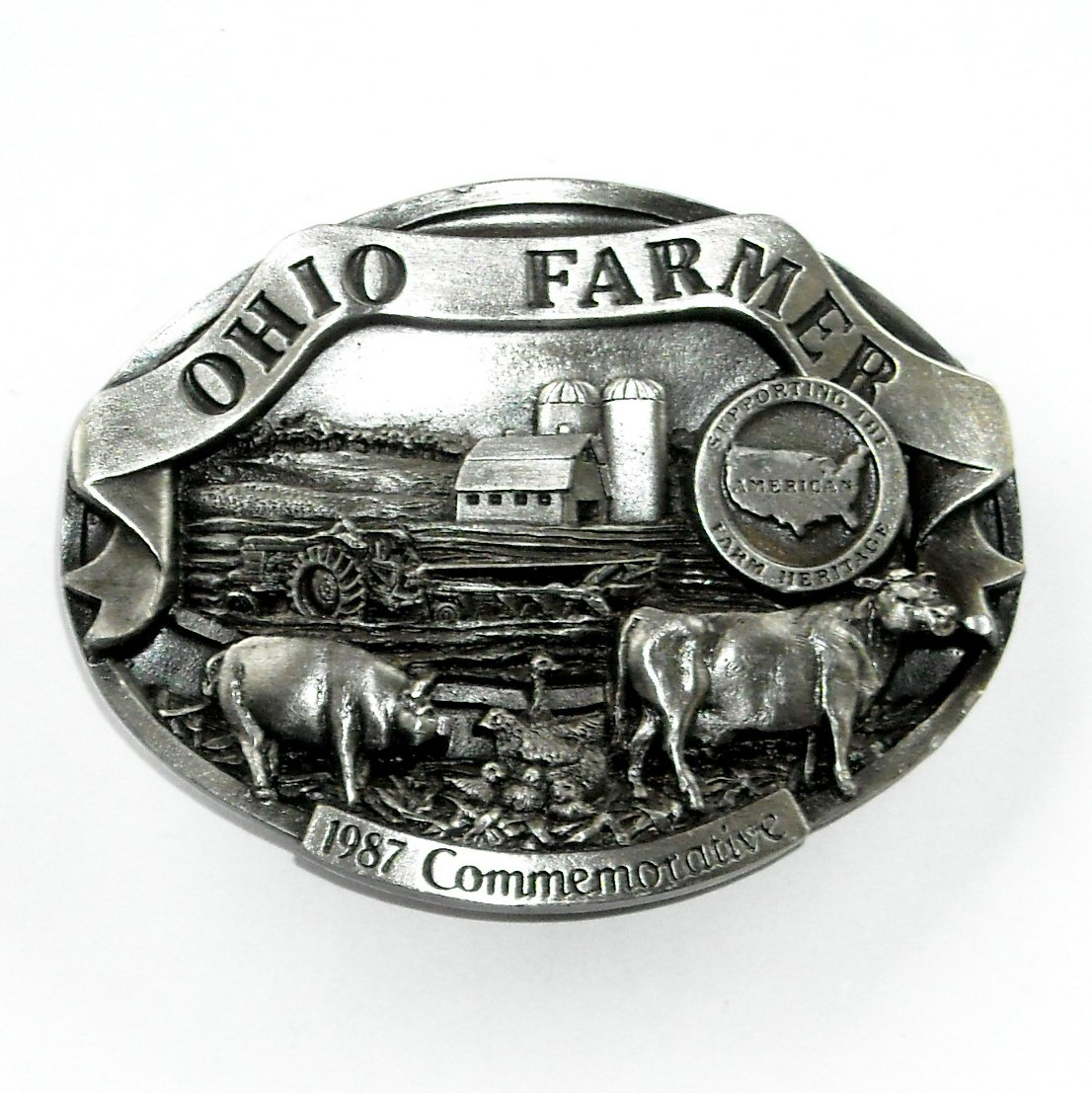 Ohio Farmer American Farm Heritage 3D Limited Edition Pewter Belt Buckle 1987