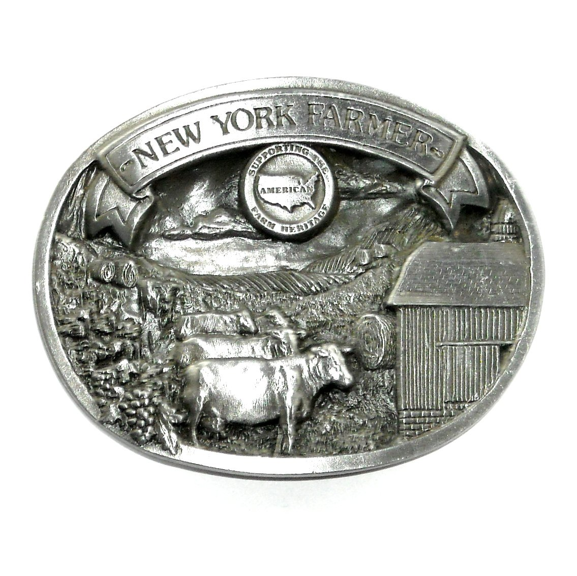 New York Farmer American Farm Heritage 3D Limited Edition Pewter Belt Buckle 1987