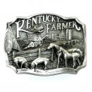 Kentucky Farmer 3D Made In USA Edition Pewter Belt Buckle 1986