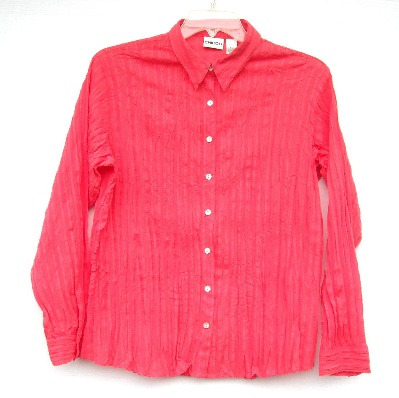 Chicos Crinkle Button Up Long Sleeve Red Shirt Blouse Top Size 2