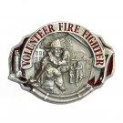 Volunteer Fire Fighter 3D Red Arroyo Grande Pewter Belt Buckle