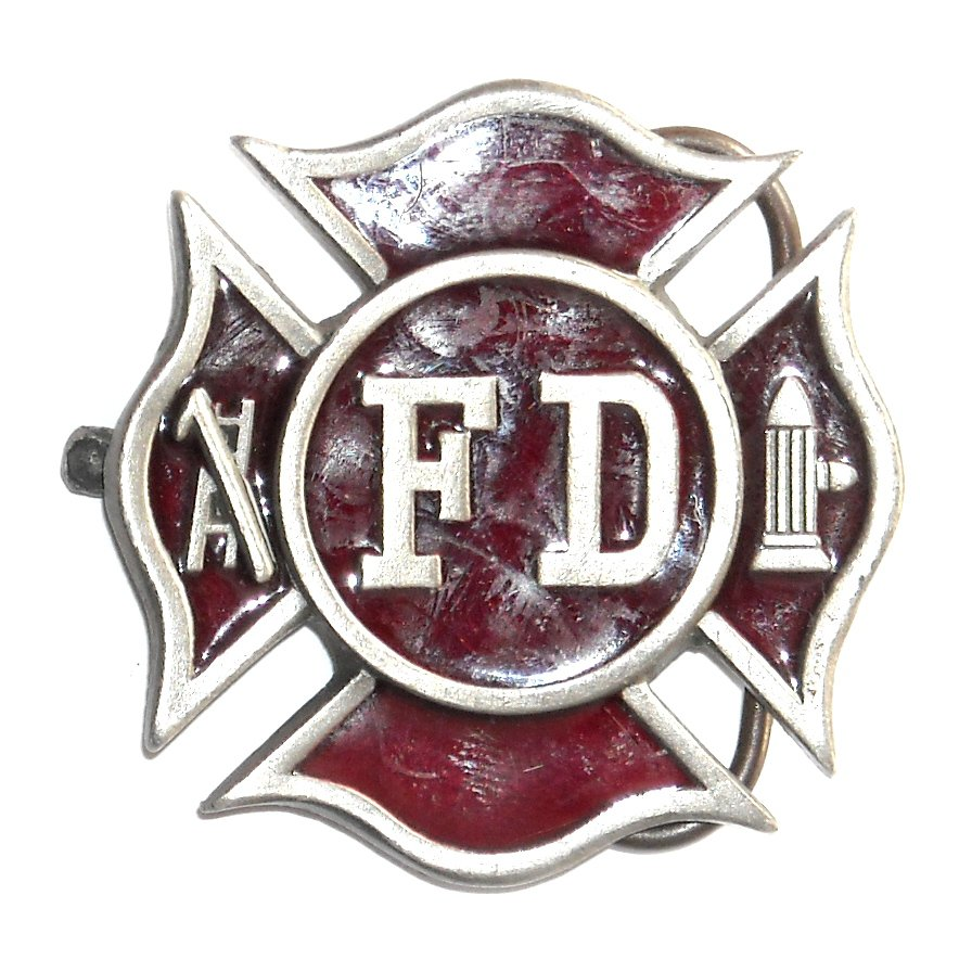 Fire Department Shield Red Bergamot Pewter Belt Buckle
