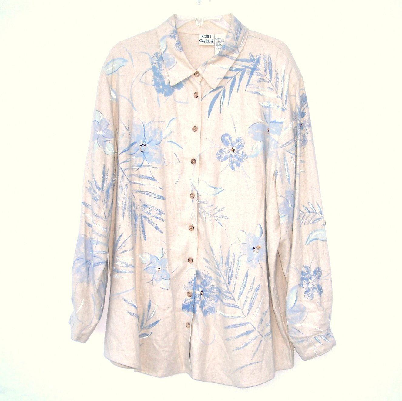 Koret City Blues Womens Soft Long Blouse Shirt Size 18 W
