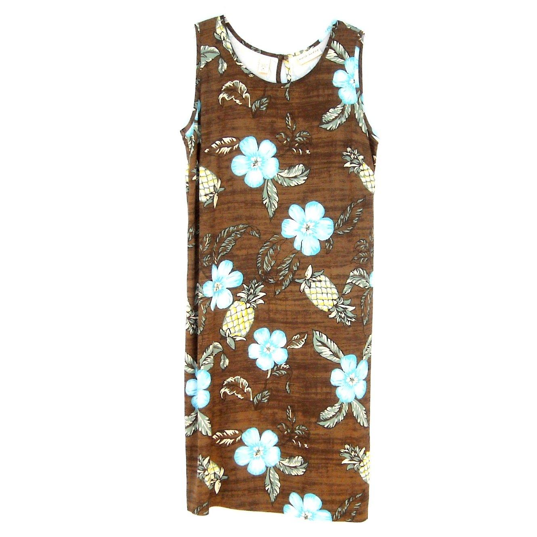Marsh Landing Womens Sleeveless Flowers Brown Dress Size M
