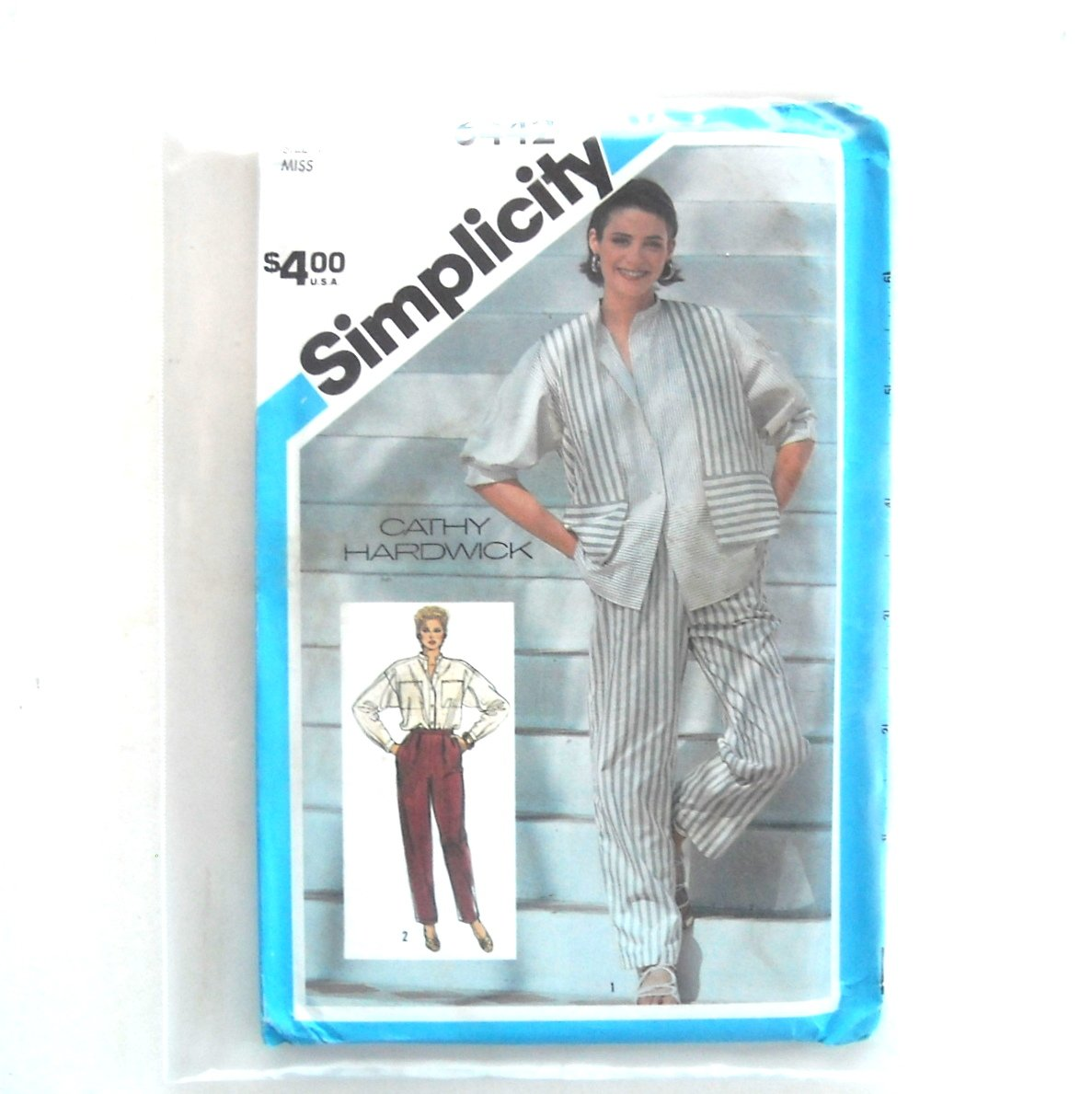 Misses Cropped Pants Shirt Lined Vest Size 12 Simplicity Sewing Pattern 6442