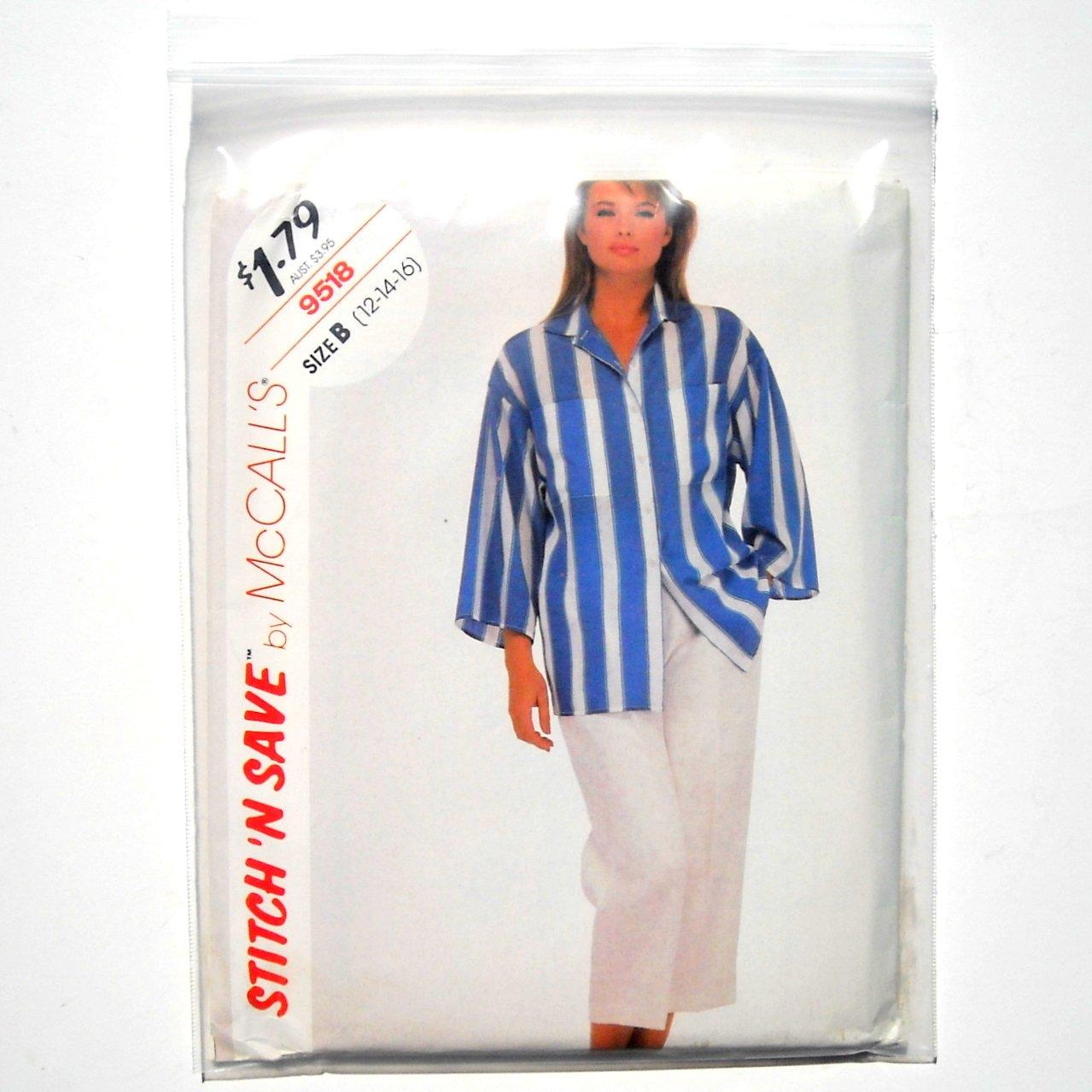 Misses Blouse Pants Size 12 - 16 Vintage McCalls Sewing Pattern 9518