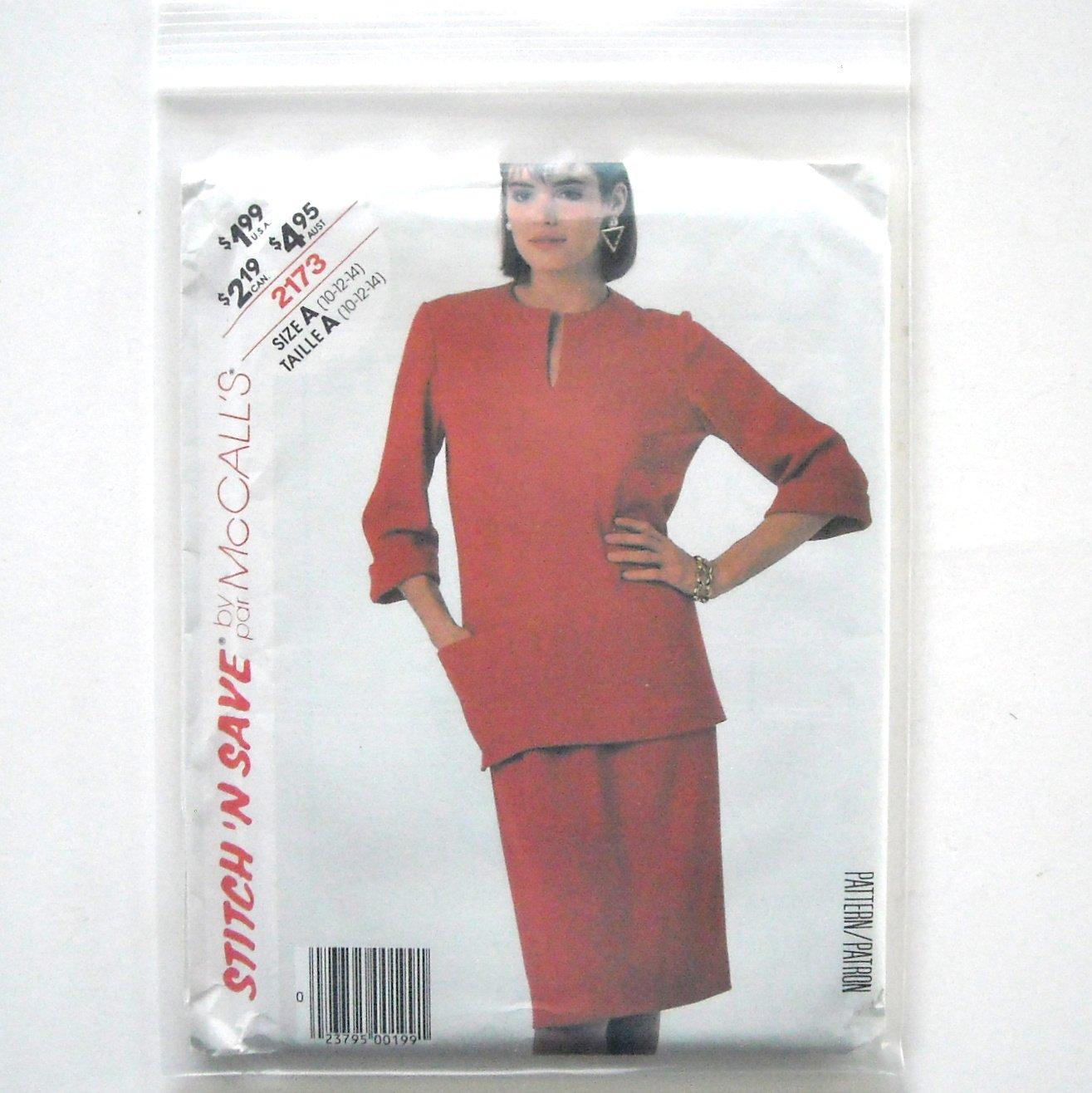 Misses Top Skirt Size 10 - 14 Vintage McCalls Sewing Pattern 2173