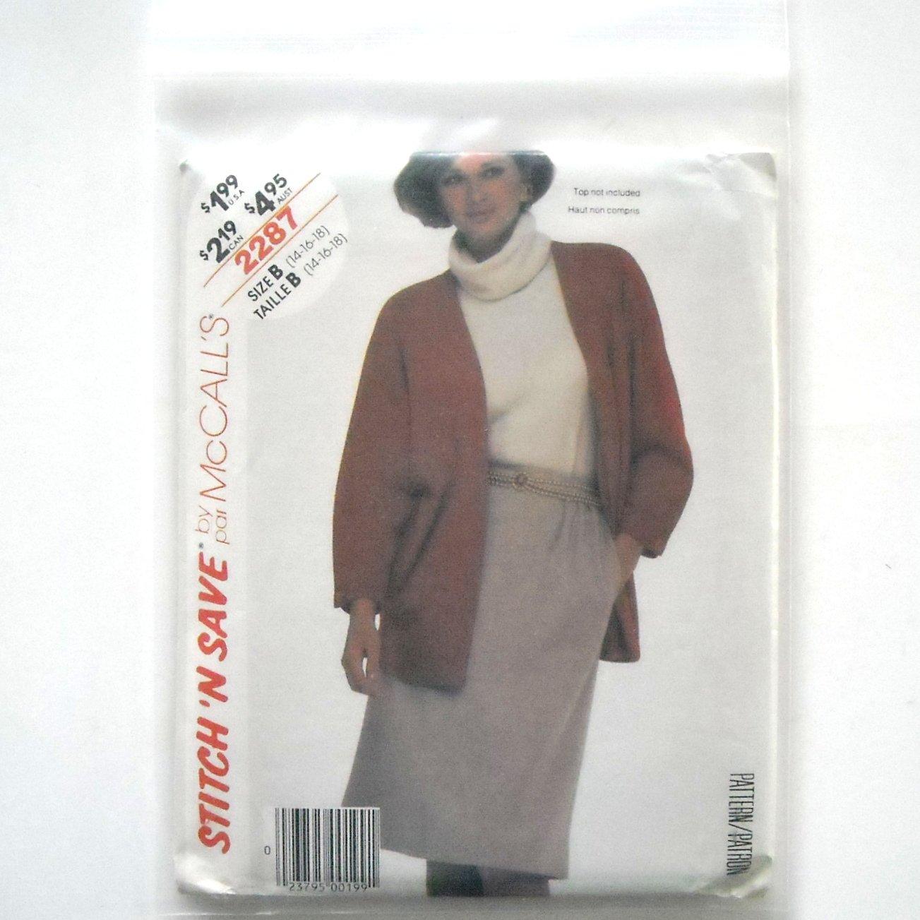 Misses Jacket Skirt Size 14 - 18 Vintage McCalls Sewing Pattern 2287