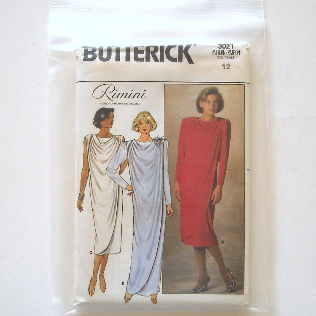 Misses Dress Size 12 Vintage Butterick Sewing Pattern 3021