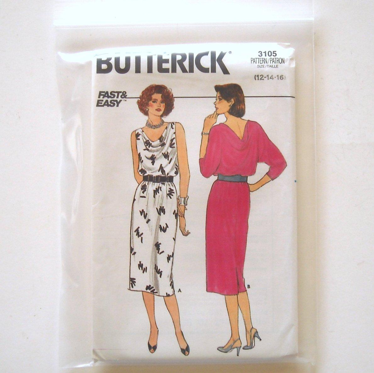 Misses Dress Size 12 - 16 Vintage Butterick Sewing Pattern 3105