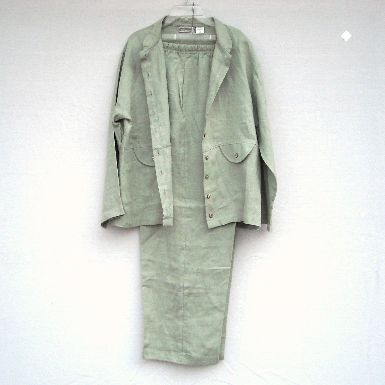 Coldwater Creek Misses Linen Jacket Pant Suit Size PM