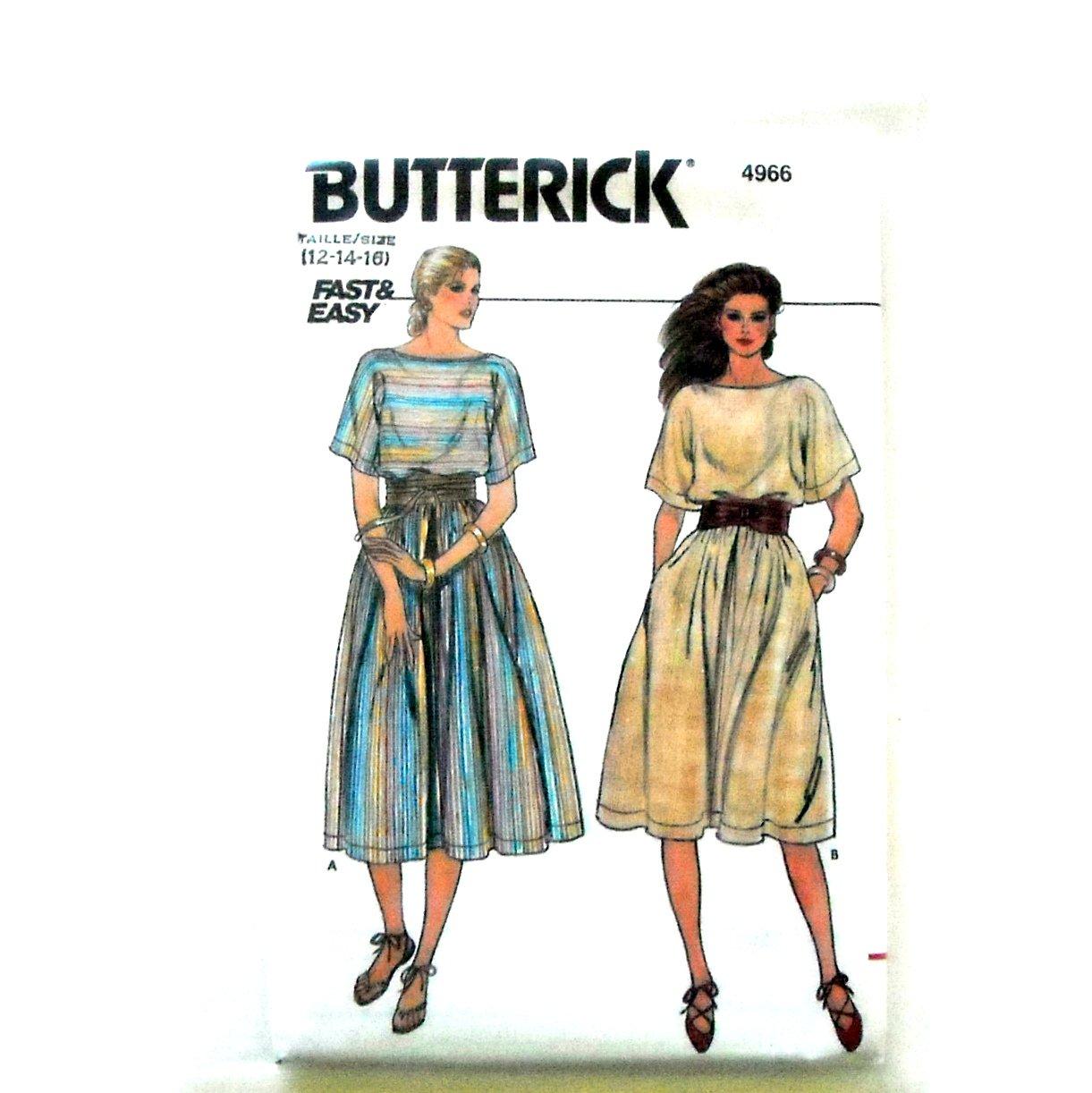 Misses Dress Size 12 - 16 Vintage Butterick Sewing Pattern 4966