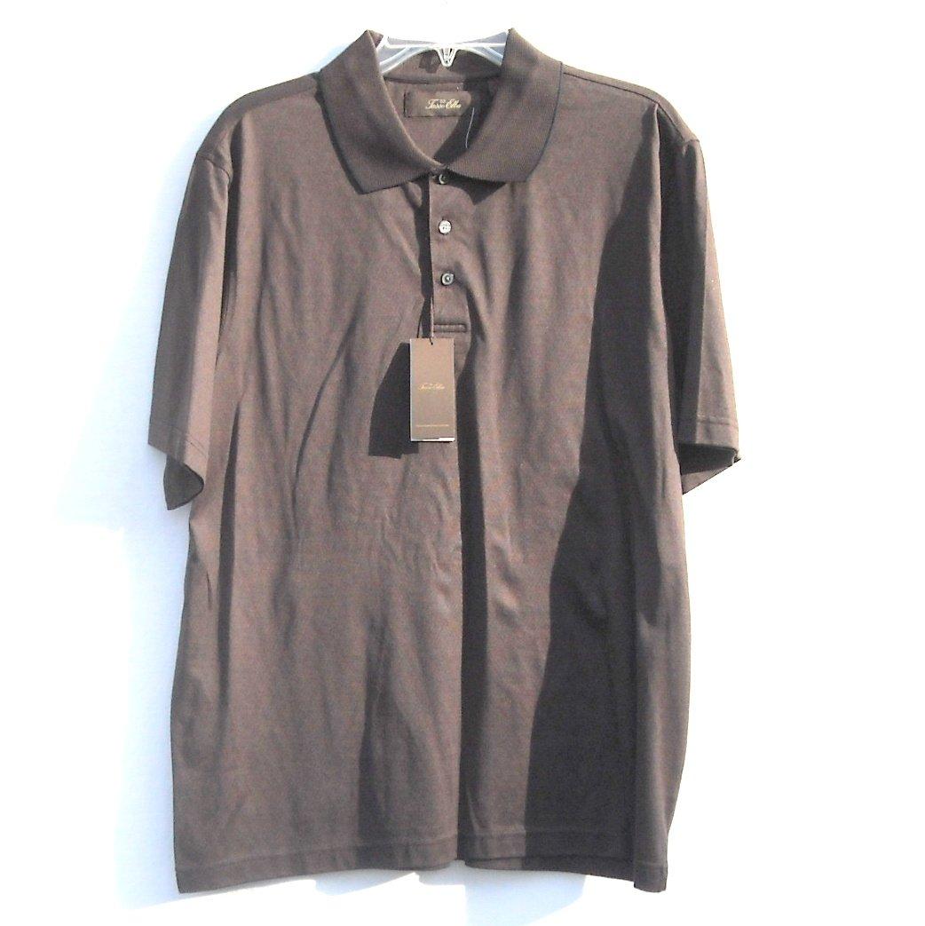 Tasso Elba Short Sleeve Cotton Brown Shirt Medium