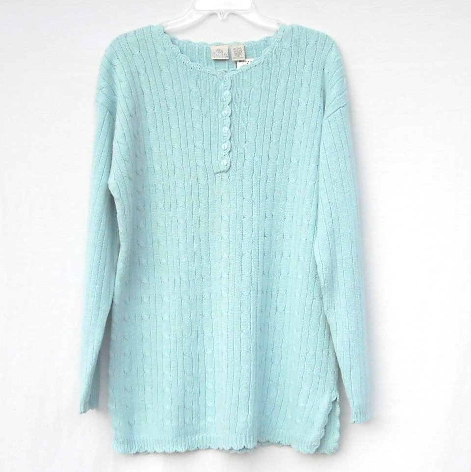 Cascade Blues CB Womens Knit Blouse Top Size L