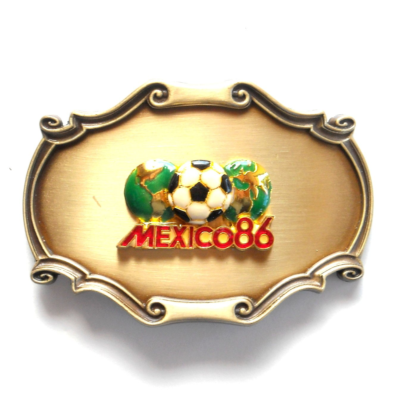Vintage Mexico 1986 World Cup Raintree Metal Alloy Belt Buckle